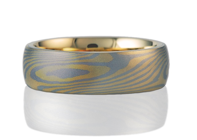 Mokume Gane Ring Yellow Gold and White Gold